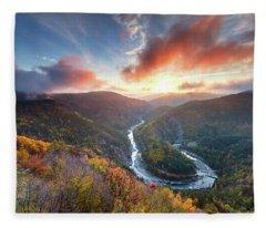 River Meander At Sunrise Fleece Blanket