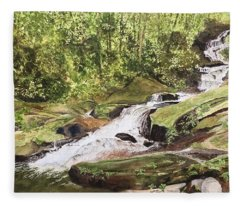 Roaring Fork Falls -- June 2017 Fleece Blanket