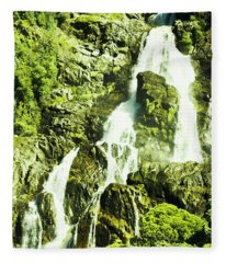 Rocky Mountain Waterfall Fleece Blanket
