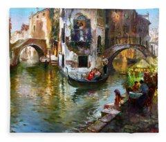 Romance In Venice Fleece Blanket