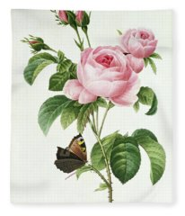 Rosa Centifolia Fleece Blanket