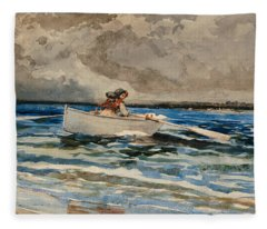 Rowing At Prouts Neck Fleece Blanket