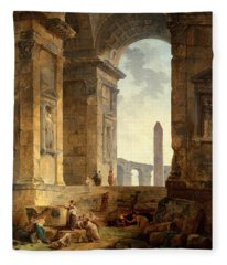 Ruins With An Obelisk In The Distance Fleece Blanket