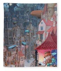 Saga Of The City Of Zeppelins Fleece Blanket