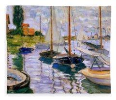 Sailboats On The Seine  Fleece Blanket