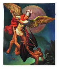 Saint Michael The Warrior Archangel Fleece Blanket