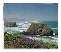 Sea Stacks And Surf Fleece Blanket