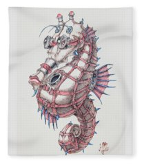 Seahorse In Steampunk Fleece Blanket