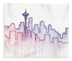 Seattle Skyline Watercolor Fleece Blanket