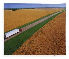 Semi-trailer Truck Fleece Blanket