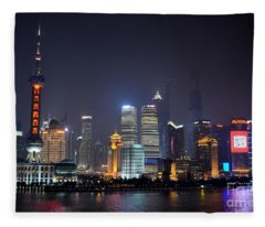 Shanghai China Skyline At Night From Bund Fleece Blanket