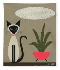 Siamese Cat On Tabletop Fleece Blanket