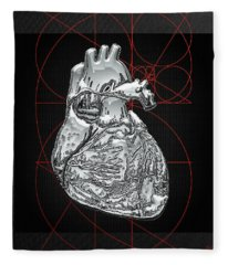 Silver Human Heart On Black Canvas Fleece Blanket