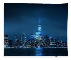 Skyline At Night Fleece Blanket