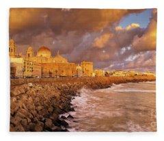 Skyline From Campo Del Sur Cadiz Spain Fleece Blanket