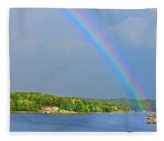 Smith Mountain Lake Rainbow Fleece Blanket