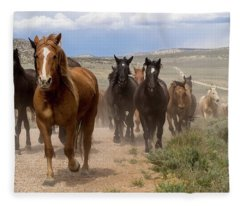 Sombrero Ranch Horse Drive, An Annual Event In Maybell, Colorado Fleece Blanket