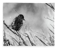 Snarky Sparrow, Black And White Fleece Blanket