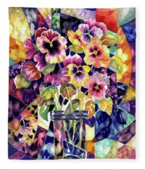 Stained Glass Pansies Fleece Blanket