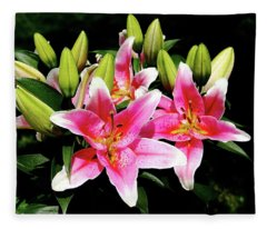 Stargazer Lily Fleece Blanket