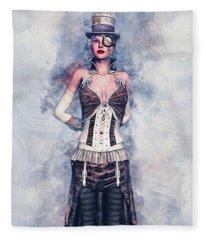 Steampunk Girl Fleece Blanket