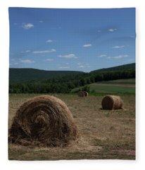 Straw Bales Fleece Blanket