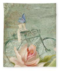 Summer At Cape May - Bicycle Fleece Blanket