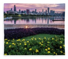 summer flowers and Chicago skyline Fleece Blanket