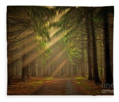 Sun Rays In The Forest Fleece Blanket