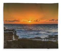 Sun Rising Over The Sea Fleece Blanket