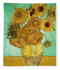 Sunflowers By Van Gogh Fleece Blanket