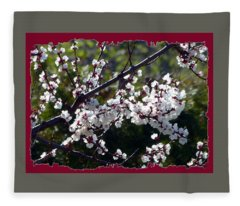 Sunlit Apricot Blossoms Fleece Blanket