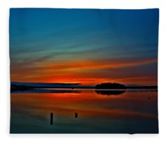 Sunrise Onset Pier Fleece Blanket