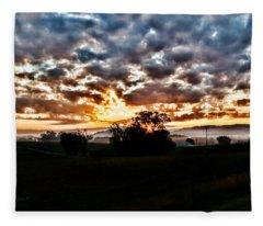 Sunrise Over Fields Fleece Blanket