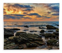Sunset At Crystal Cove Fleece Blanket