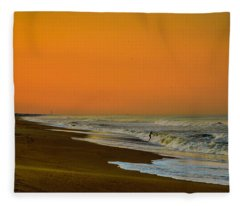 Sunset At Duck Fleece Blanket