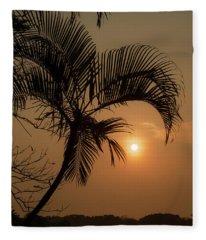 sunset Huong river Fleece Blanket