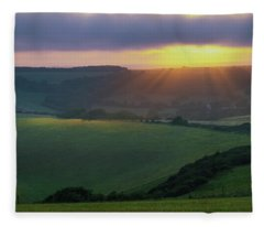 Sunset Over The South Downs Fleece Blanket