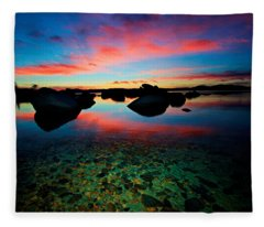 Sunset With A Whale Fleece Blanket