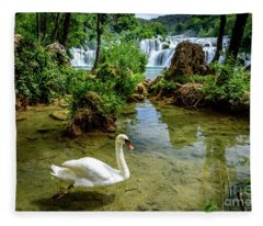 Swan In The Waterfalls Of Skradinski Buk At Krka National Park In Croatia Fleece Blanket
