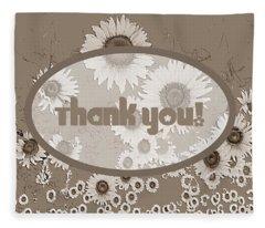 Thank You Card Daisies Fleece Blanket