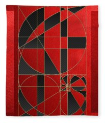 The Alchemy - Divine Proportions - Black On Red Fleece Blanket