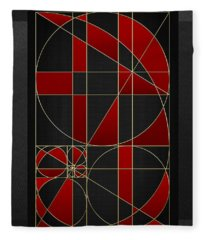 The Alchemy - Divine Proportions - Red On Black Fleece Blanket