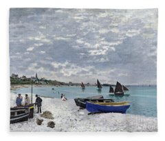 The Beach At Sainte Adresse Fleece Blanket