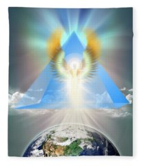 The Blue Pyramid Of Protection Fleece Blanket