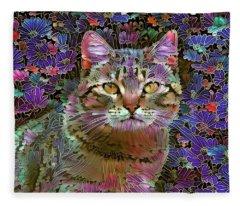 The Cat Who Loved Flowers 2 Fleece Blanket