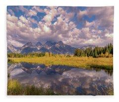 The Grand Tetons National Park Autumn Olena Art Fall Colors Photography Fleece Blanket