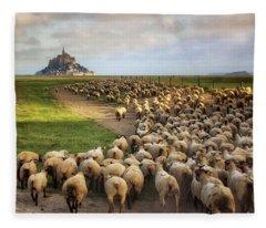 The Sheep Of Mont Saint Michel Fleece Blanket