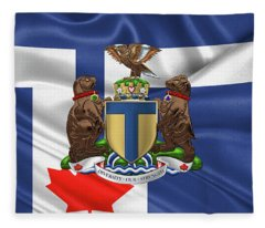 Toronto - Coat Of Arms Over City Of Toronto Flag  Fleece Blanket