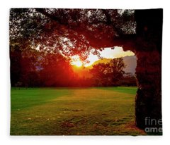 Fleece Blanket featuring the photograph Tree And Sunset by Mats Silvan